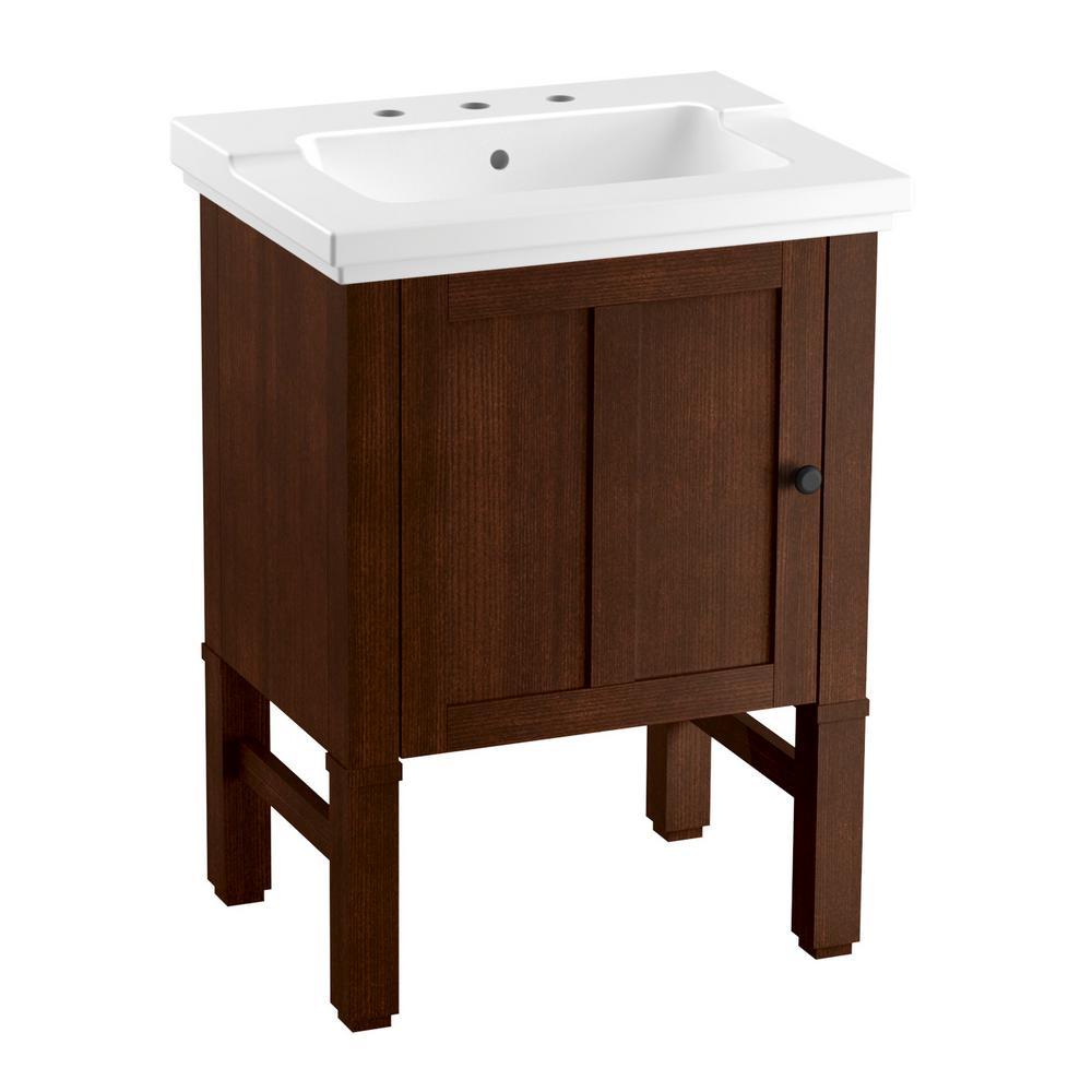 Kohler Chambly 24 In W Vanity In Woodland With Ceramic Vanity Top In White With White Basin K R20195 F69 The Home Depot Vanity Vanity Top 24 Bathroom Vanity [ 1000 x 1000 Pixel ]
