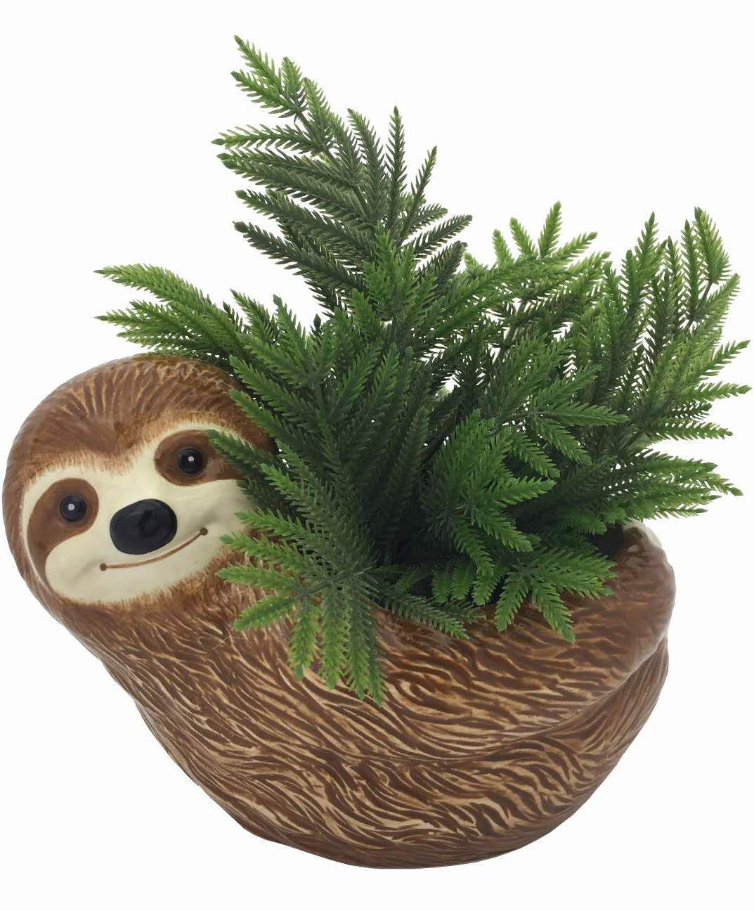 """Sammie The Sloth Ceramic Animal Planter For Succulents Or Small Plants 5/"""""""