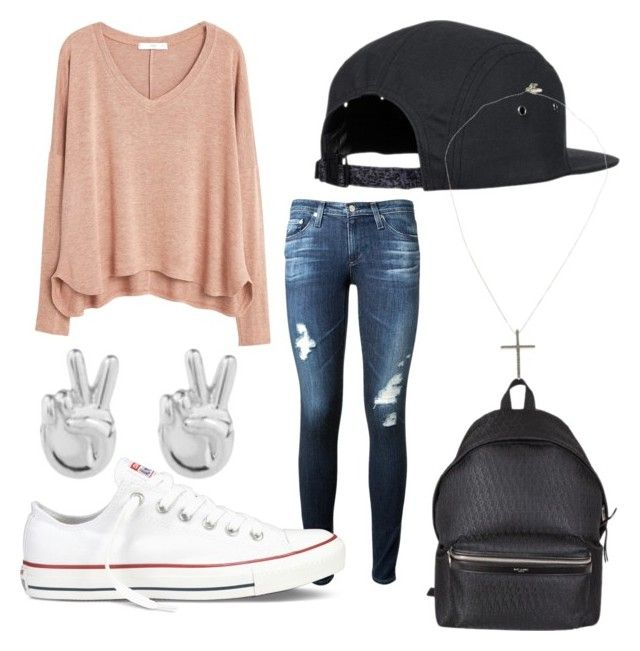 """Peace Cross"" by emilyolson2019 on Polyvore featuring MANGO, AG Adriano Goldschmied, Converse, Yves Saint Laurent, Rock 'N Rose and Joop!"