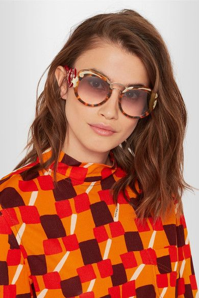 f7216935283e PRADA Cat-eye tortoiseshell acetate and gold-tone sunglasses ...