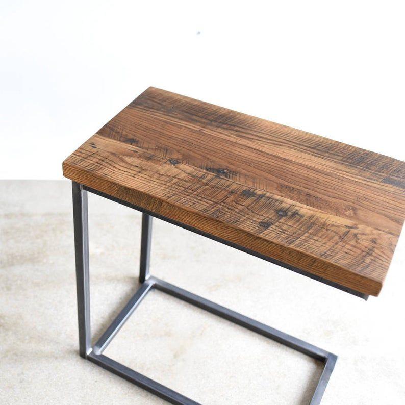 Reclaimed Wood C Table Industrial Box Frame Side Table C Metal