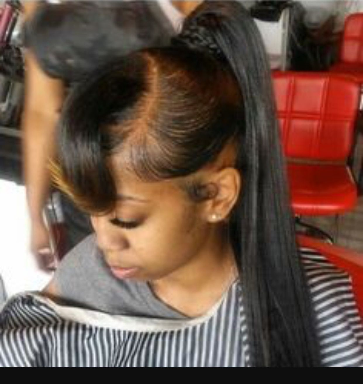 High Ponytail With Ombre Bangs Long Ponytail Hairstyles Sleek Ponytail Hairstyles Ponytail Styles