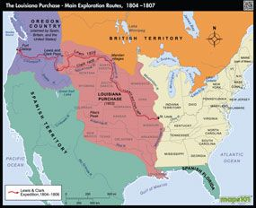 Louisiana Purchase And Western Exploration Routes Map From Maps - Map of us during westward expansion