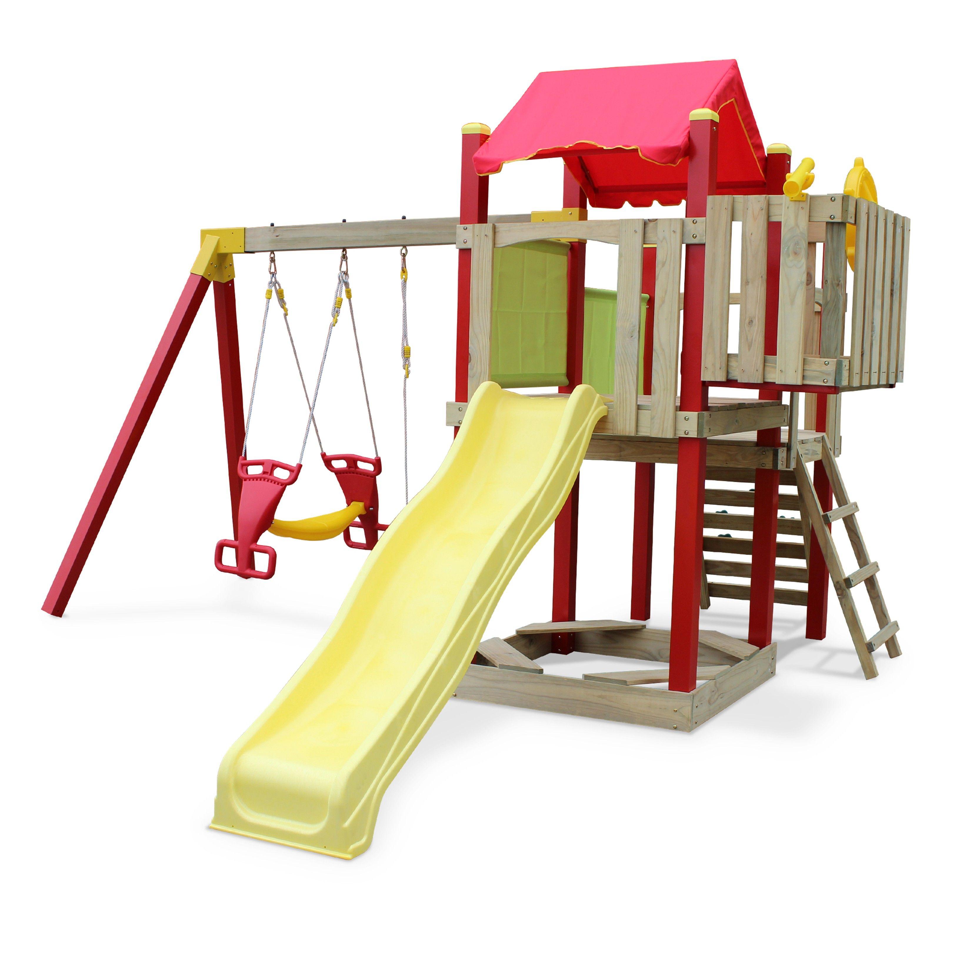 aire de jeux ext rieure en bois station de jeux ext rieure portique en bois toboggans. Black Bedroom Furniture Sets. Home Design Ideas