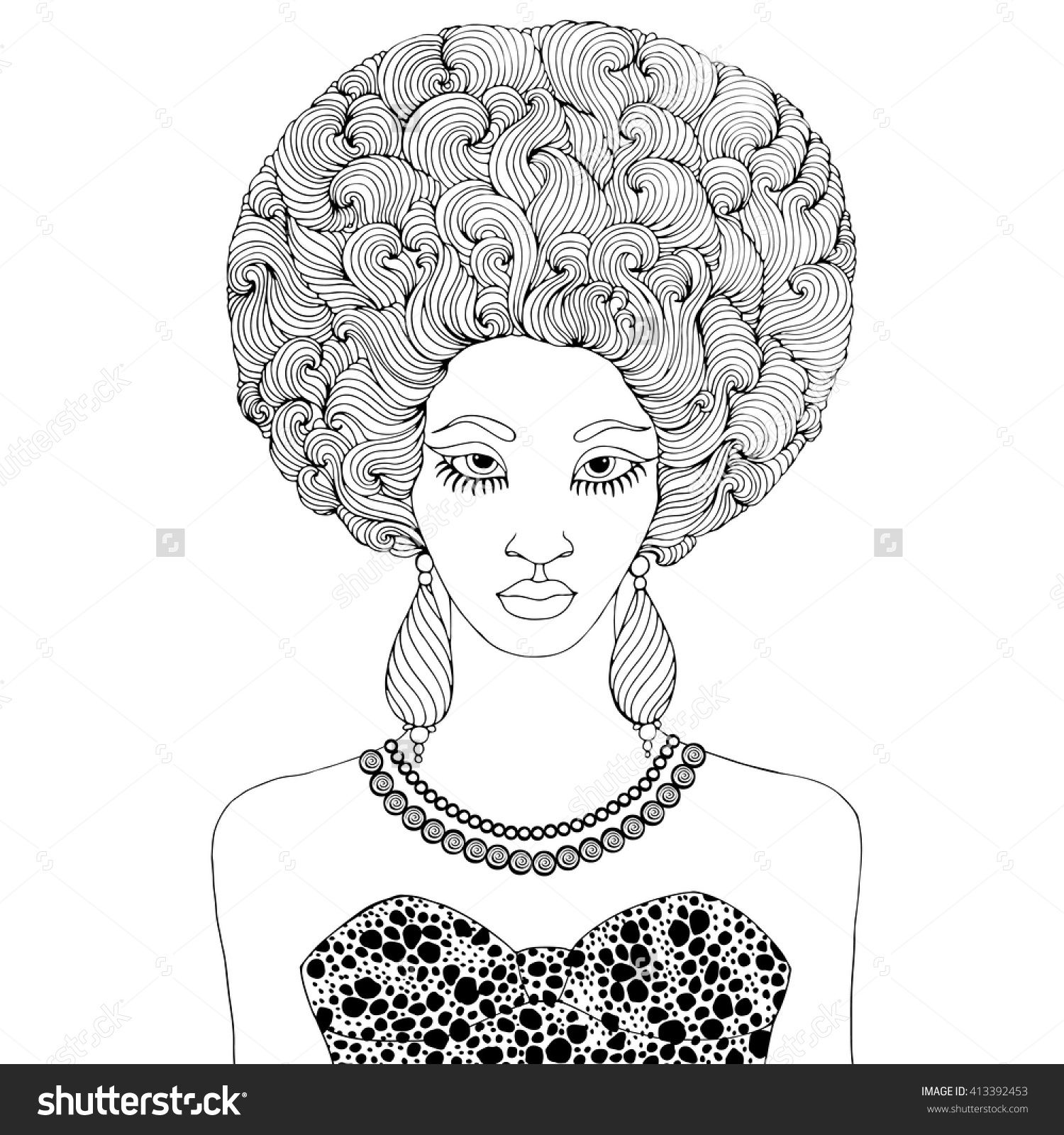 Vector hand drawn line portrait of a young African girl with ...