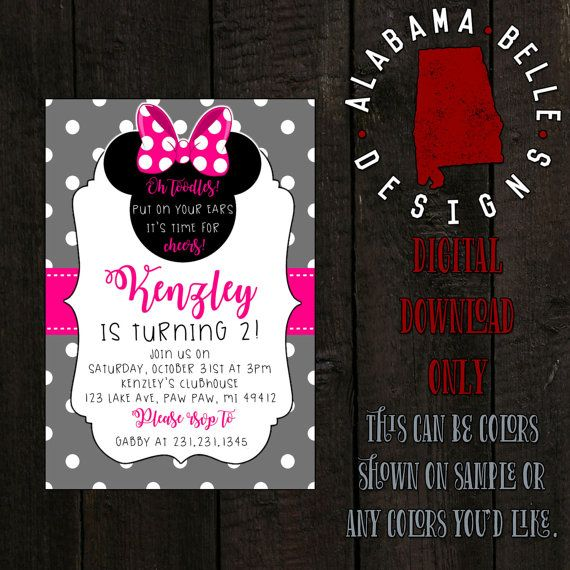 Minnie Mouse Birthday Invitation by AlabamaBelleDesigns on Etsy