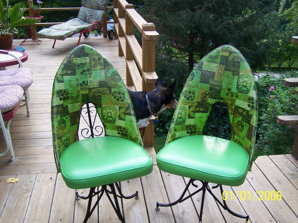 Vintage mid century swivel atomic vinyl kitchen chairs wrought ...