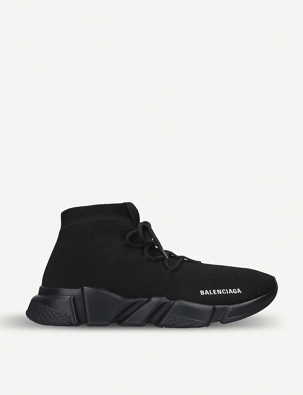Speed Knit Lace Up Mid Top Trainers Balenciaga Leather Heels