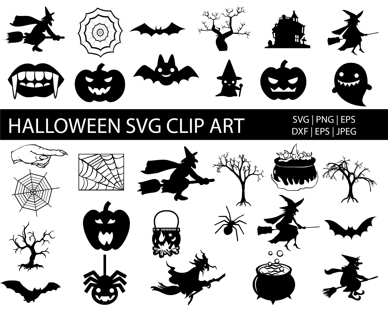 Halloween Clip Art Svg Bundle Halloween Clip Arts Etsy In 2020 Halloween Silhouettes Halloween Clips Halloween Clipart