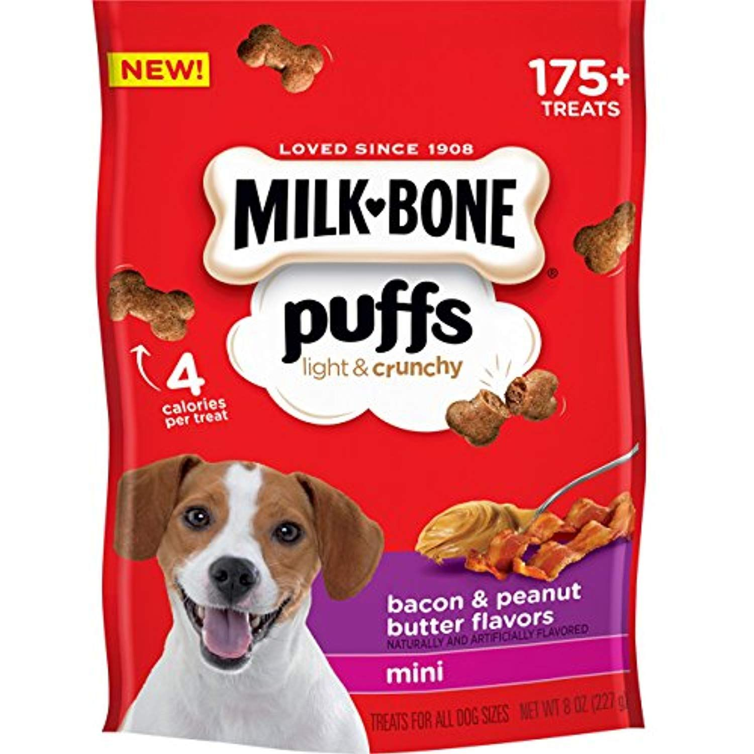 Milk Bone Puffs Peanut Butter And Bacon Mini Dog Treats 8 Oz Pack Of 4 Visit The Image Link More Details This Is An Bacon Dog Treats Milk Bone Bacon Dog