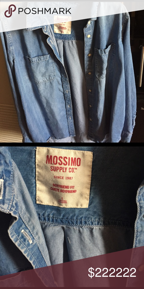 2ed5b0b3288 ISO denim shirt I m looking for a Mossimo (target brand) boyfriend fit  button up just like this!! Mossimo Supply Co Tops Button Down Shirts