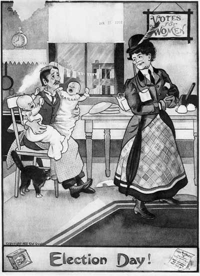 If women get the vote, men would have to take care of the children. (le gasp!) Anti-women's suffrage cartoon.