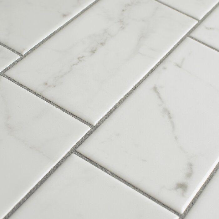 Karra Carrara 3 x 6 Ceramic Subway Tile #whitesubwaytilebathroom