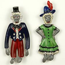 Trifari 'Alfred Philippe' 'Mr and Mrs Monkey' Pair of Pin Clips