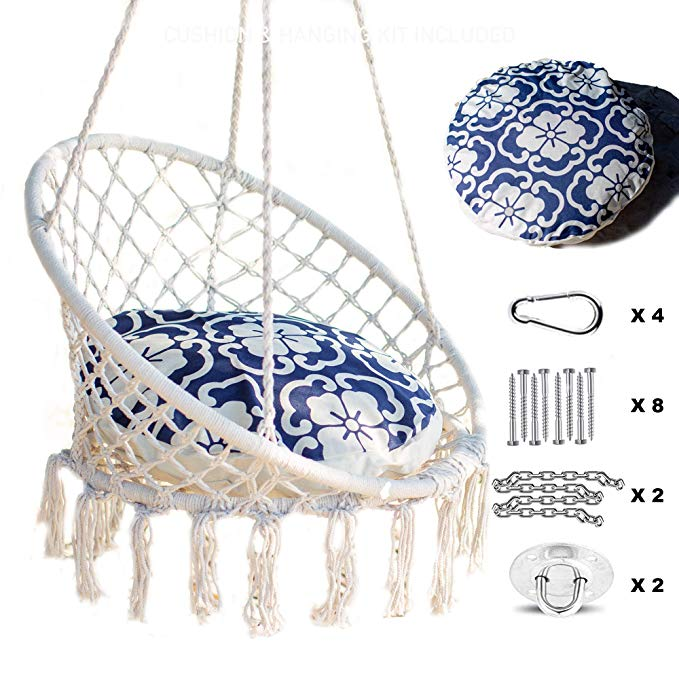 Amazoncom Chair Hammock Hanging Macrame Macrame Cushion Nooksta Swing Amazon Com Nooksta Hammoc Hanging Swing Chair Hanging Chair Hammock Chair Stand