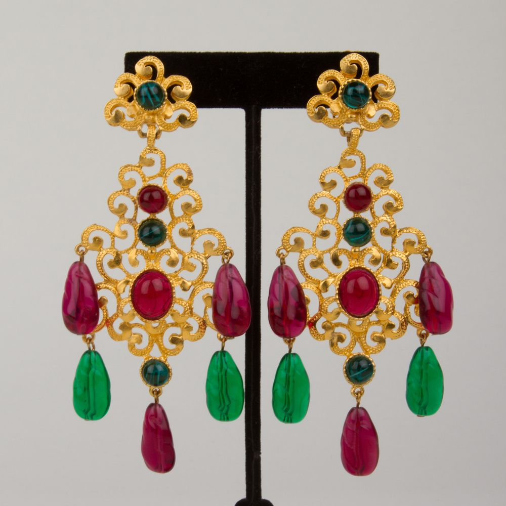 Image Of Kenneth Lane India Inspired Tourmaline Clip Earrings 150 00 Clip On Earrings Earrings India Inspired