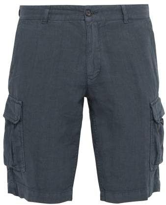 5c072f760132 Once Milano - Crushed Linen Poplin Cargo Shorts - Mens - Blue in ...
