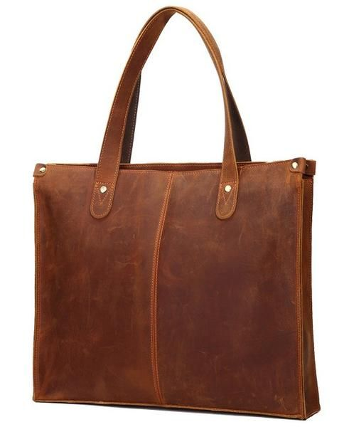 Brown Leather Tote Bag With Zipper For Work