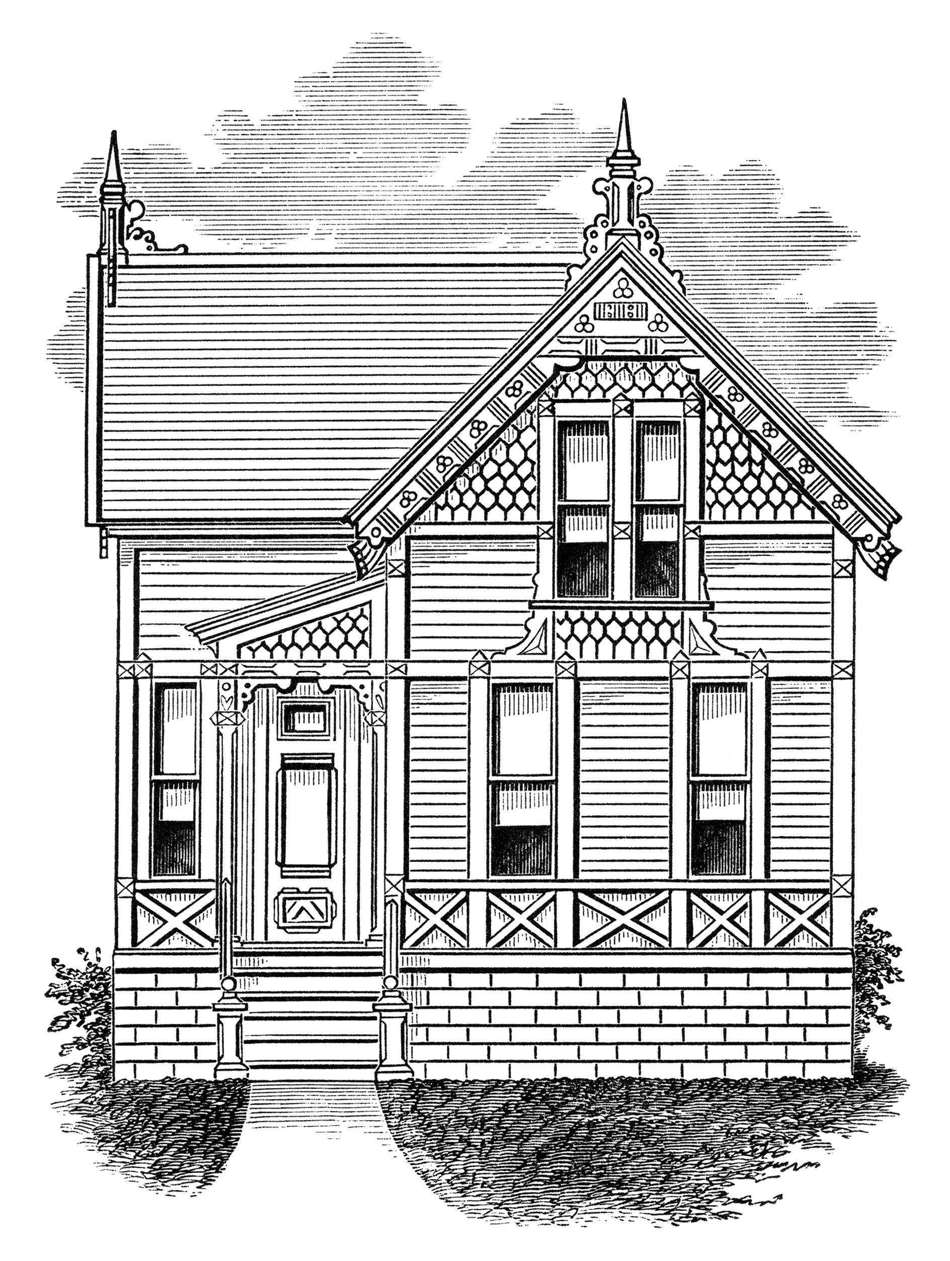 Pin By Becky Chenevert On Vectors House Illustration Old