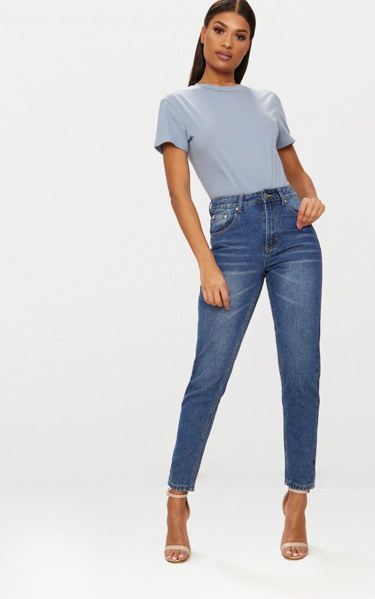 Mid wash mom jean mom jeans casual work wear women jeans