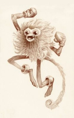 Art by Laura Bifano  http://pocketmonstermemories.com/ http://www.laurabifano.com/   bifanoland:  I challenge you to draw Primeape! It's a fighting type Pokemon that sort of looks like a spiky white-ish cotton ball with two ...