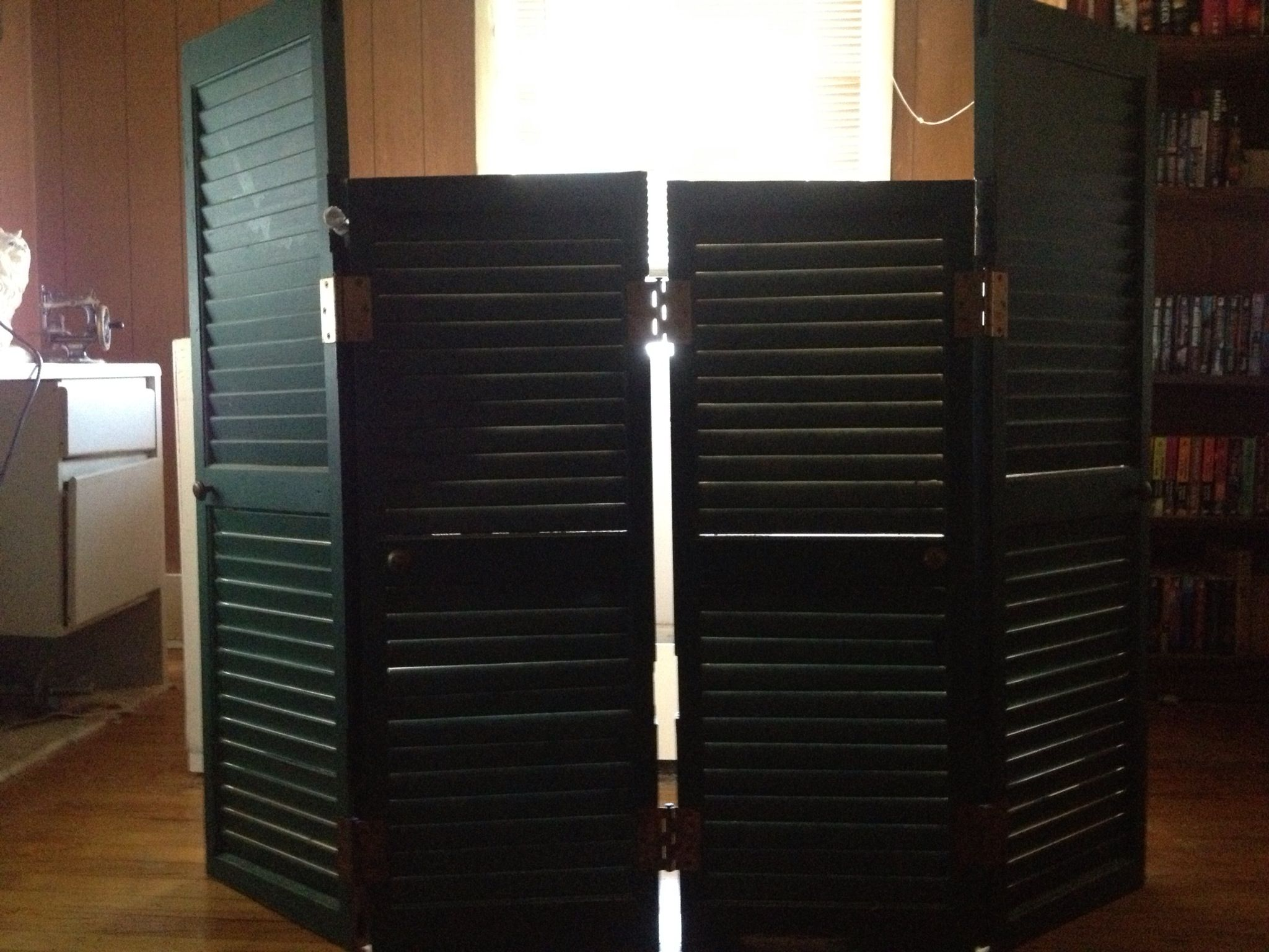 Old Shutters Made Into A Folding Screen To Hide Litter Boxes