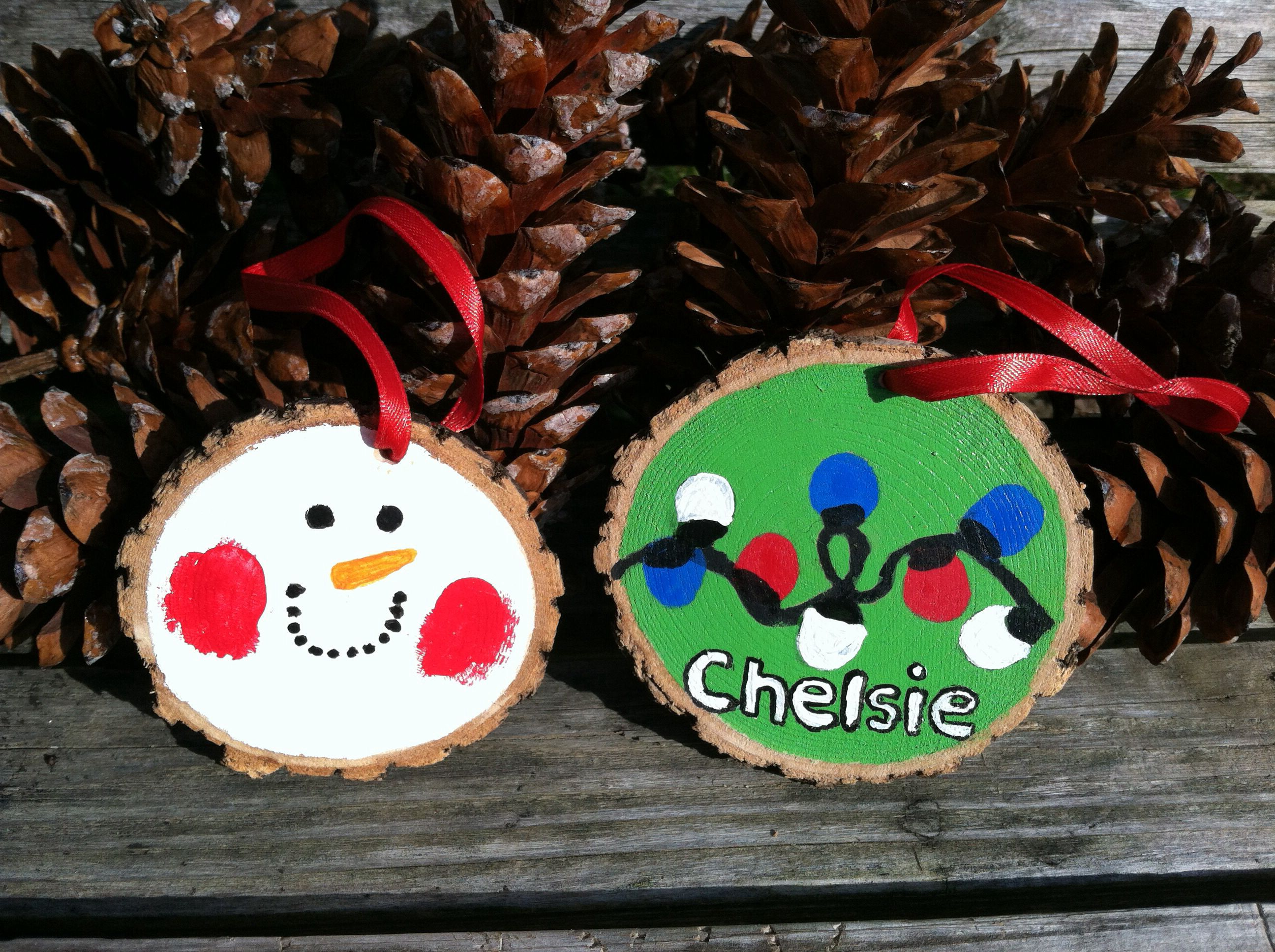 More Thumbprint Christmas Ornaments We Made On Wood Slices Wood Slices Can Be Found For Diy Christmas Ornaments Christmas Diy Kids Wooden Christmas Ornaments