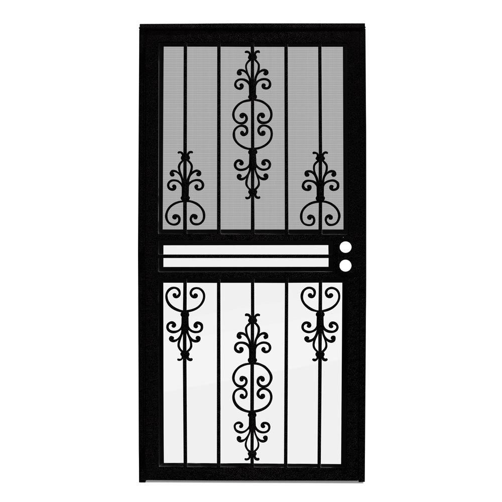 Unique Home Designs 36 In X 80 In Estate Black Recessed Mount All Season Security Door With Insect Screen And Glass Inserts Idr0310036blk The Home Depot Window Grill Design Security Door