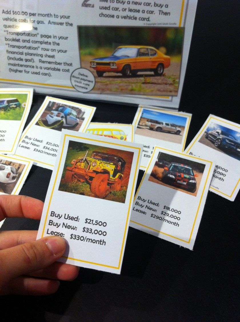 Fun Financial Literacy Stations For Middle And High School Students The Teens Love Choosing Their Car Going Consumer Math Financial Literacy Math Projects [ 1125 x 840 Pixel ]