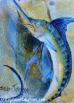 Blue Marlin Acrylic Painting On Canvas White Marlin Sail Fish