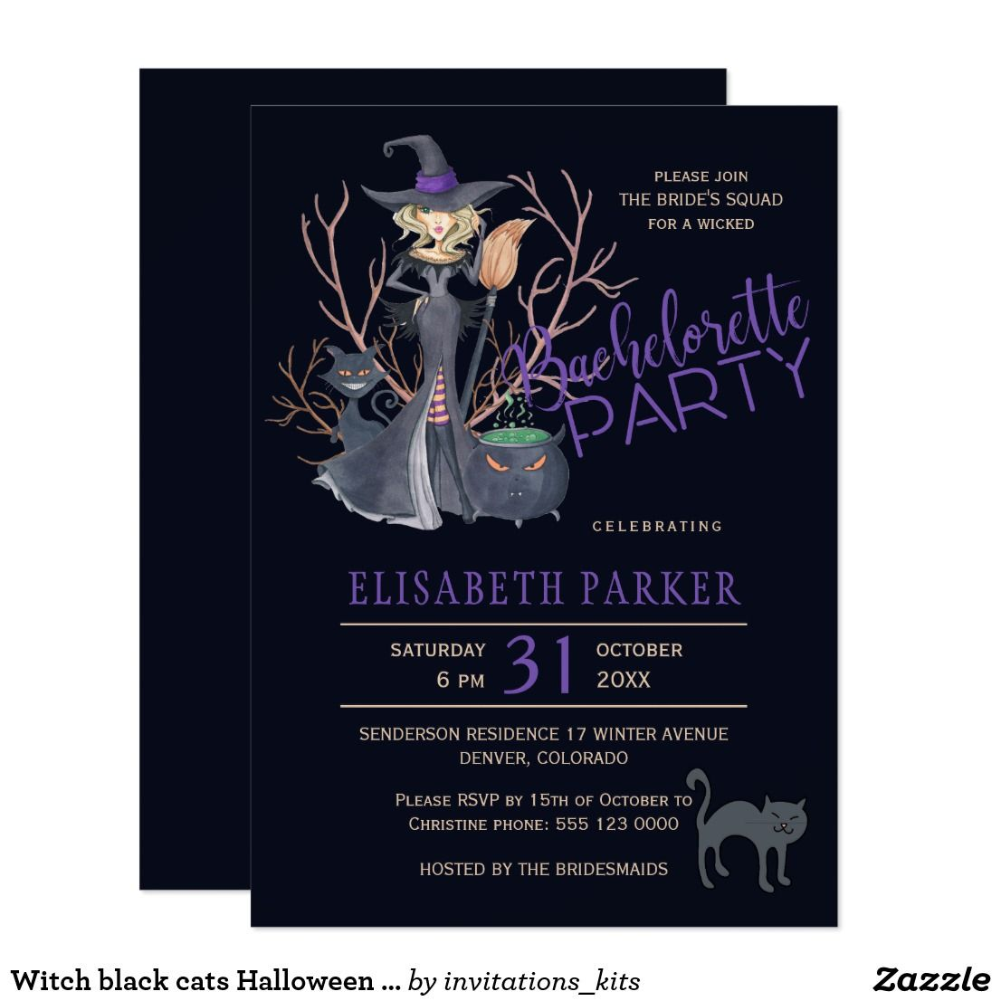 Witch black cats Halloween bridal shower party Card | Halloween ...
