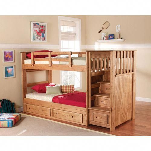 Chelsea Home Twin Over Twin Standard Bunk Bed With Stairway And