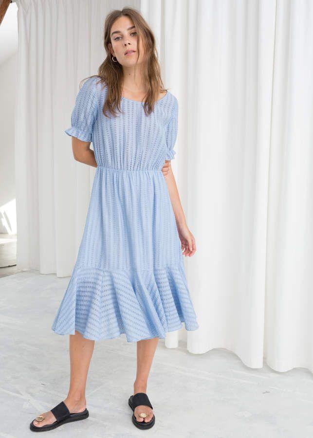 bfa99d2b10 Ribbon Stripe Midi Dress in 2019 | Products | Striped midi dress ...