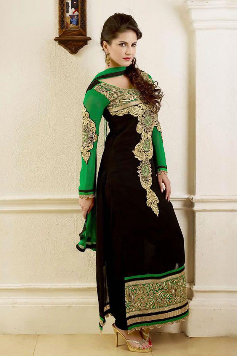 dd02c4e259 Bollywood Diva Sunny Leone Latest Party Wear Salwar Kameez ...