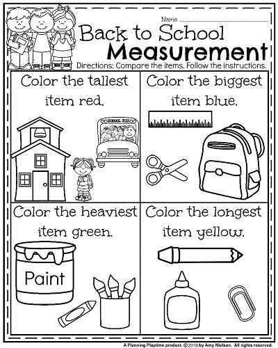 Back to School Kindergarten Worksheets - Compare measurements and color.
