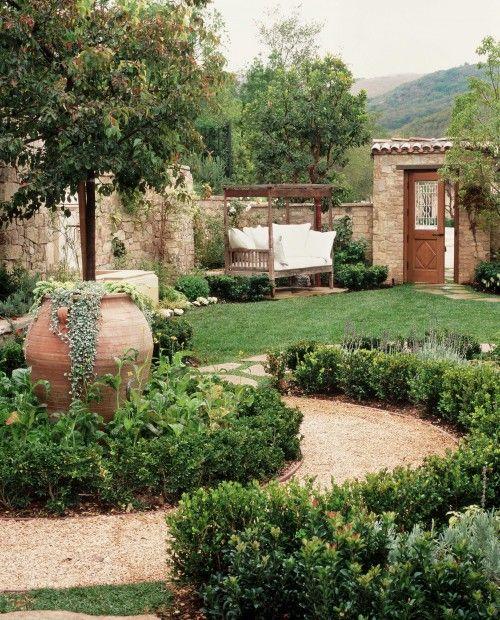 Mediterraner Garten, Pflanzen, Weg, Bank, Gemütlich