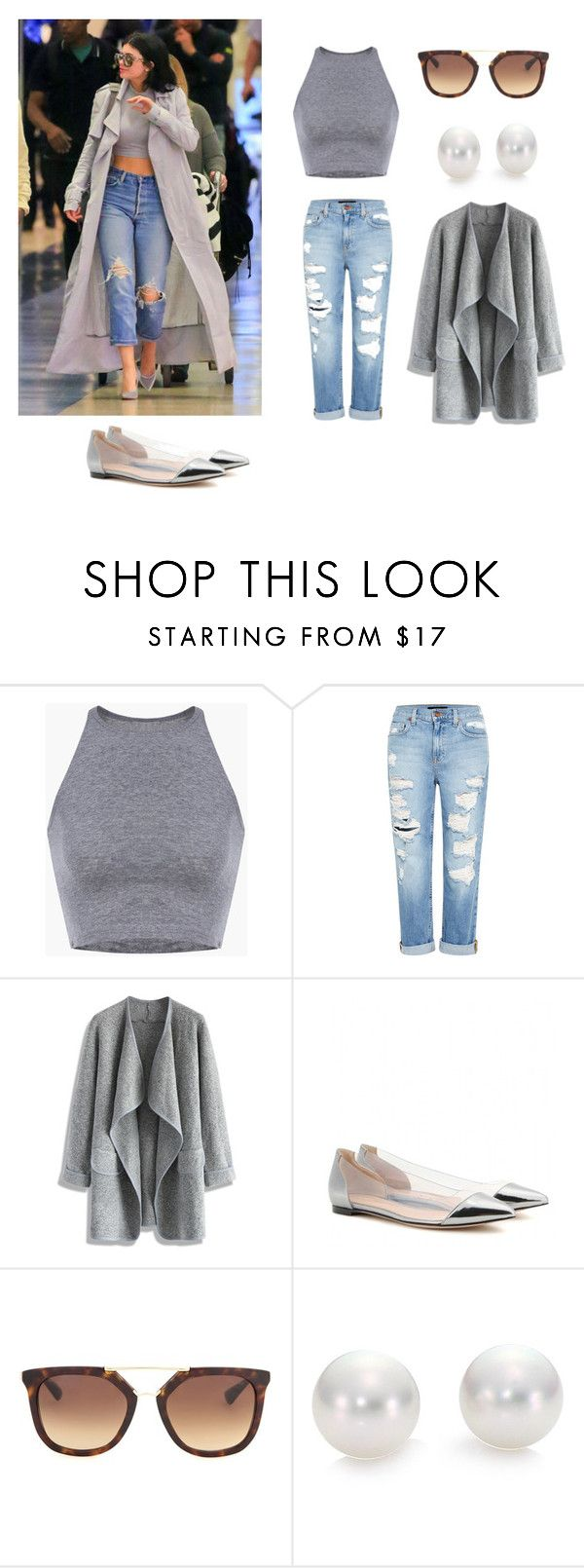 """""""Kylie jenner style"""" by queen-mina ❤ liked on Polyvore featuring Genetic Denim, Chicwish, Gianvito Rossi, Prada and Mikimoto"""