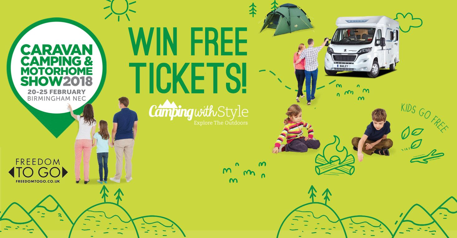 5 pairs of tickets to win to the Caravan, Camping and Motorhome Show 2018 at the NEC in Birmingham. Enter our camping competition here!