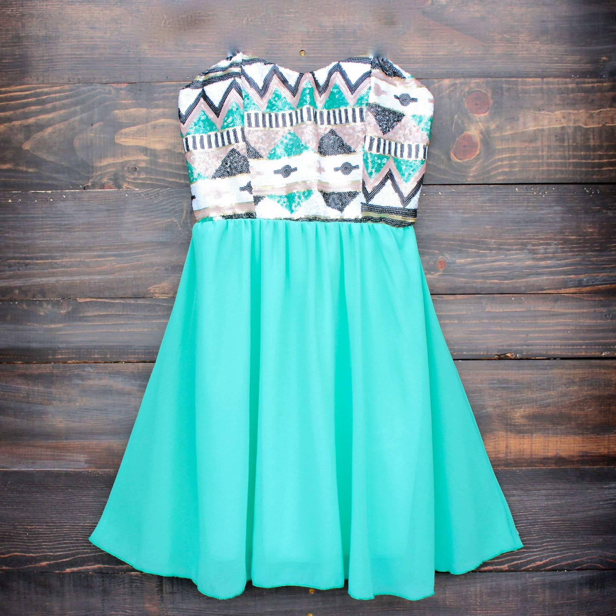 Aztec sequin strapless sweetheart dress | turquoise | Sweetheart ...