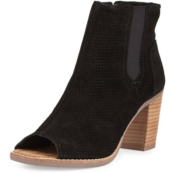 TOMS Majorca Perforated Suede Bootie ($105) ❤ liked on Polyvore featuring shoes, boots, ankle booties, black, black ankle booties, black bootie, short black boots, black open toe booties and black high heel booties