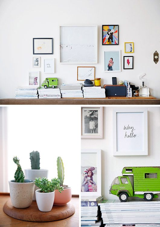 Modern framed art prints and potted succulants for Arredamento studio psicologo