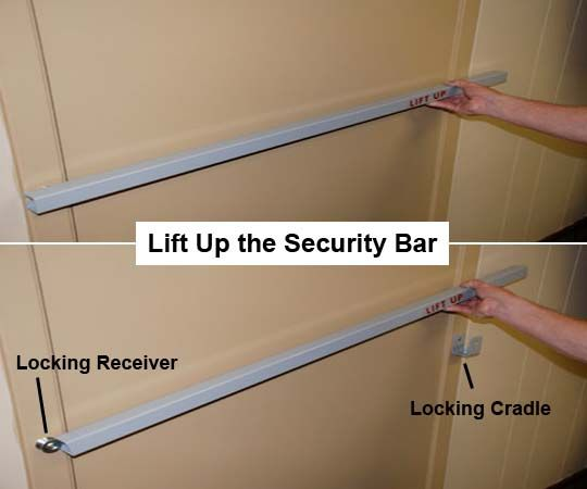 Door security bar can be used on interior doors to secure for Front door security bar