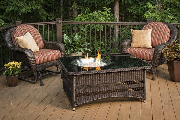 naples crystal fire pit coffee table with balsam wicker base
