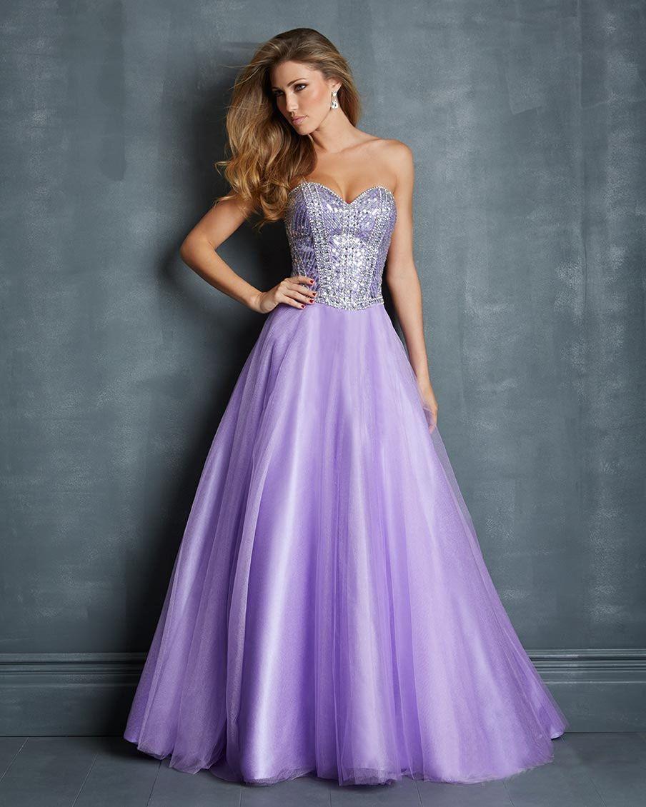 Lavender prom dresses line strapless beading lavender tulle