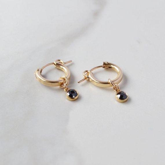 2db14c563 Black CZ Huggie Earring, Gold Filled Small Hoops, Gold Charm Hoops, Dangle  Hoop, Black Stone Hoops,