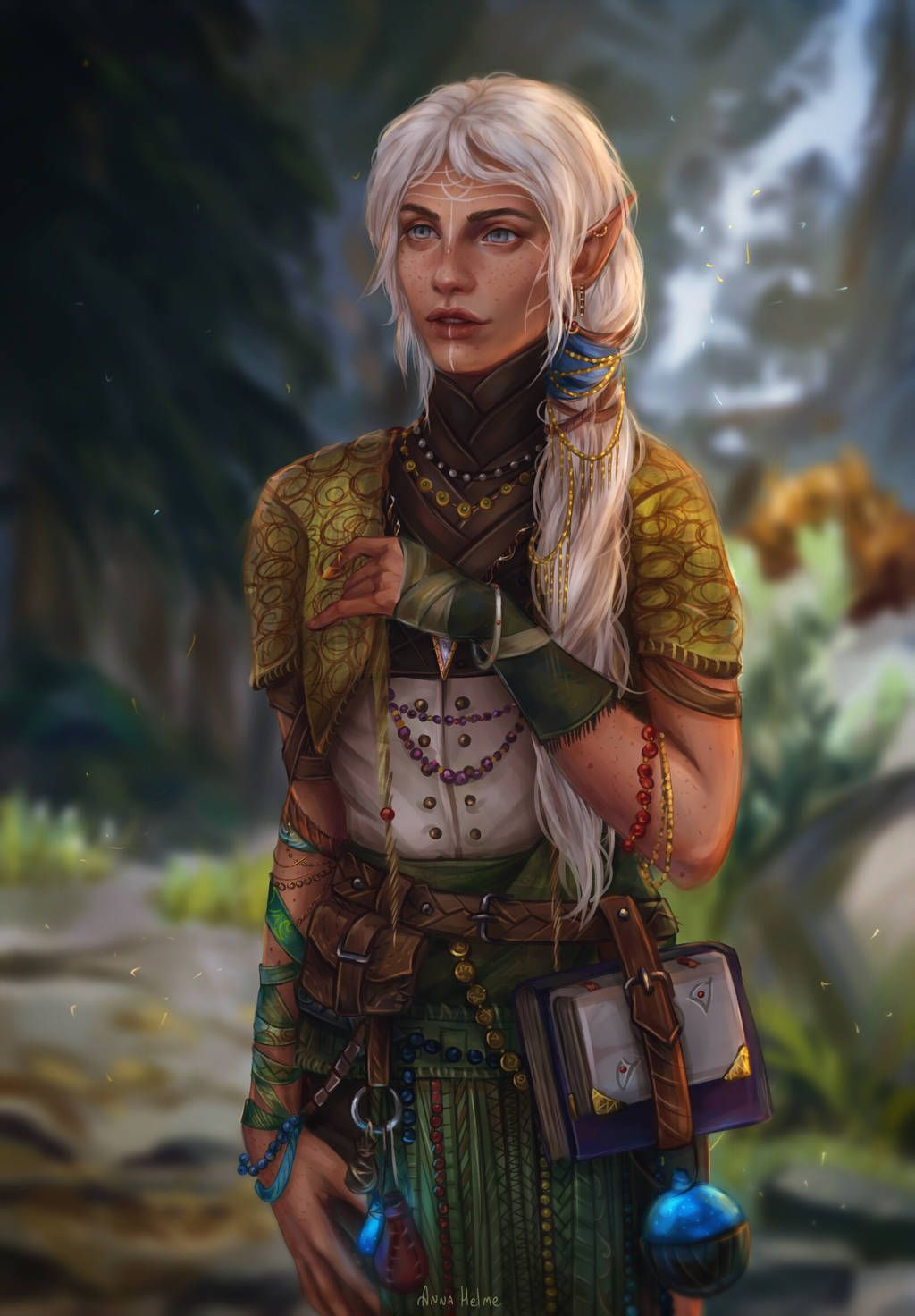F High Elf Wizard Cloak Magic Books Potions Mountains Mixed Forest Halani Lavellan By An Dungeons And Dragons Characters Elves Fantasy Fantasy Character Design