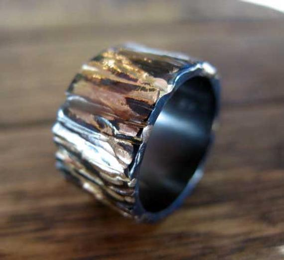 Mens Wedding Ring 12mm Ring Rose Gold Bark Wedding Band Viking Wedding Ring Unique Mens Wedding Band Rings For Men Wedding Rings Wedding Men
