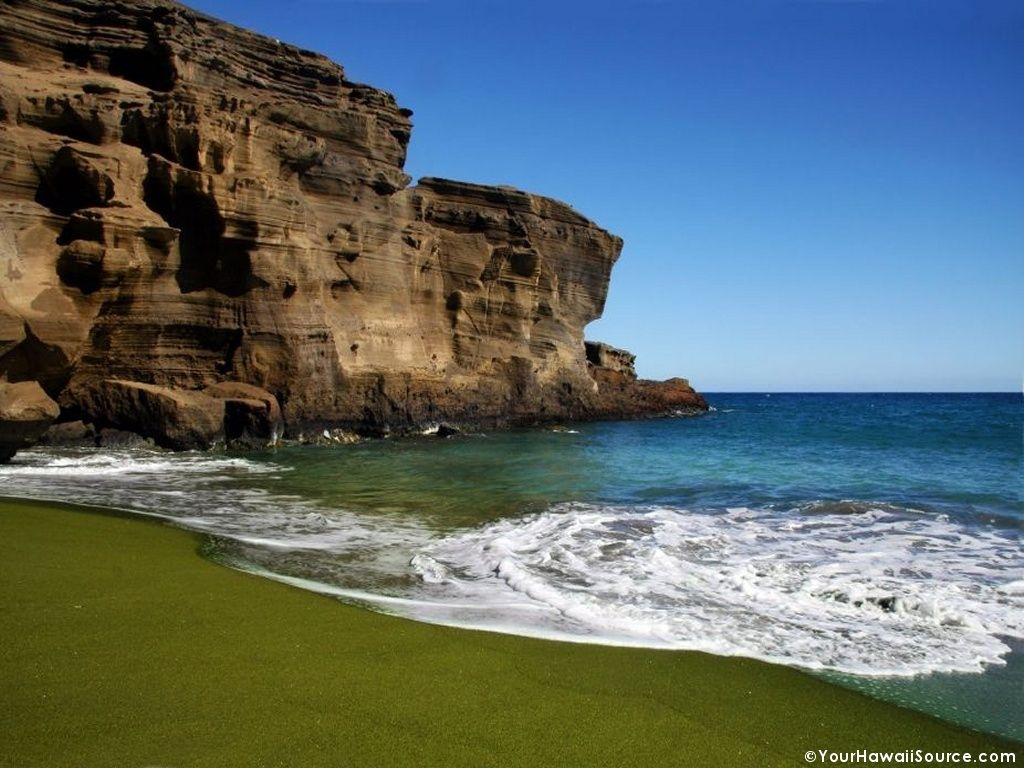 Mahana Beach Green Sands Kau Island Hawaii The Is Located On Southern Tip Of Where Verdant Color Its Surface Comes