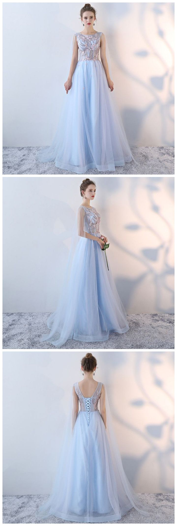 Chic aline scoop tulle blue modest applqiue long prom dress evening