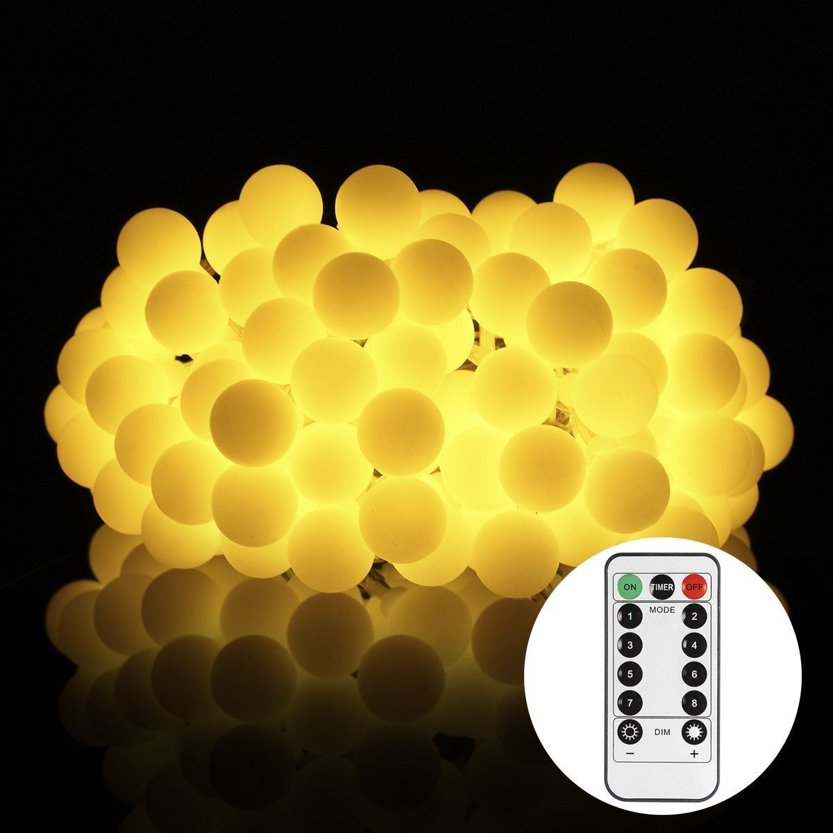 Updated Version] S&G 43.6ft Globe String Lights,100 LED 8 Lighting ...